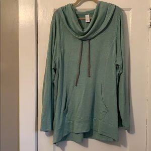Livi Active Green Cowl Neck Sweatshirt 22/24 (3X)
